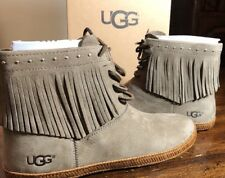 UGG ALEXIA LEATHER FRINGE BOOTIE WOMENS SHOES SIZE 5.5 SPRUCE NEW AUTHENTIC