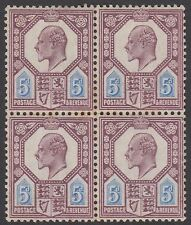 Block of 4 GB KEVII 5d Dull Purple & Ultramarine SG242a Edward VII MNH Stamps