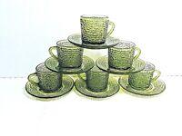 6 VTG MCM Anchor Hocking Avocado Green Soreno Snack Punch Coffee Cups & Saucers