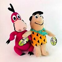 Vintage 90s The Flintstones Fred and Dino Pet Dinosaur Tagged Soft Plush Toys