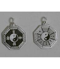 Sterling Silver Lucky Ba Gua Bagua Yin Yang Tai Chi Pendant Charm NEW