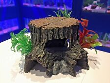 Tree Stump & Plants Natural Looking Aquarium Fish Tank Hideaway Ornament 977