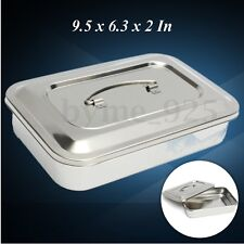 Stainless Steel Dental Box Tray Holder Case Lid Storage Medical Instrument 24cm