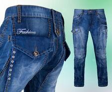 Herren Jeanshose Kosmo Lupo Dicke Nähte Clubwear Blau 29 30 31 32  34 36 38 -