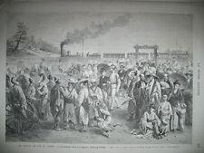 TRAIN CHEMIN DE FER JAPON CHINAGAWA YEDDO TEMPETE AU HAVRE NAVIRE GRAVURES 1872