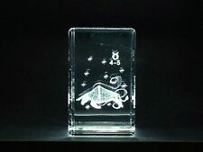 LASER CRYSTAL PAPERWEIGHT STAR SIGN ZODIAC TAURUS