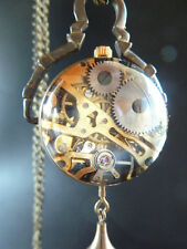 Antique Style Ornate Steampunk Glass Dome Mechanical Pocket Watch Necklace