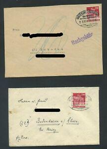 Bizone 85 2 Briefe Bahnpost von WÜRZBURG nach POTSDAM bzw. BODENHEIM  #m257