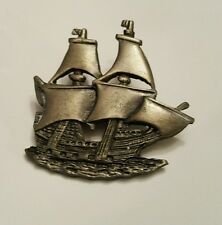 Vintage Pewter Clipper Ship Boat Pin Brooch