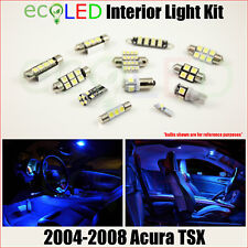 Fits 2004-2008 Acura TSX BLUE LED Interior Light Accessories Package Kit 8 Bulbs