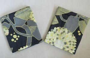 Vintage Marimekko Crate & Barrel Standard Pillow Shams Gray & Yellow Floral