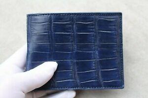 Genuine Alligator Crocodile Leather Skin Men Bifold Wallet Handmade Blue #N39