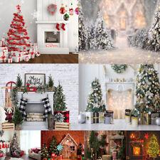 Xmas Photography Backdrop Christmas Background Studio Props Decoration Snow Tree