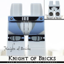 LEGO Minifigure Legs LIGHT GRAY Hips Knee Pads SAND BLUE Straps BLACK Belt