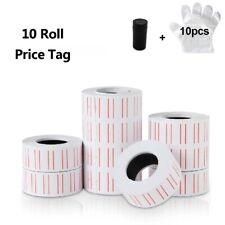 10 Roll 6000pcs White Price Tag Sticker Mx 5500 Gun Adhesive Labels 1 Refill Ink