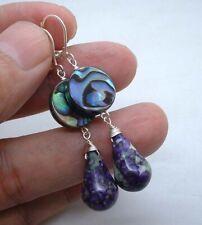 Smoth Purple Sea Sediment W. Abalone Shell Sterling Silver Earrings BIN0802