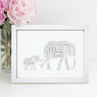 Personalised Word Art Mother And Baby Lucky Elephant Picture Gift Frame Print