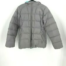 THE NORTH FACE - GIRLS SIZE XL (18) GRAY FULL ZIP FAUX FUR HOODED JACKET