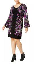 INC Bamboo Blossom Floral Print Shift Dress XL Bell Sleeve Purple Black NWT