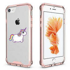 For Apple iPhone 6 6s 7 Plus Clear Shockproof Bumper Case Cover Rainbow Unicorn