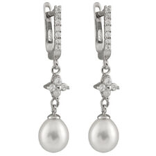 Sterling silver rhodium plated dangling earrings 7-8mm freshwater pearl ESR-194