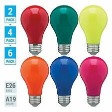 Pack Led Bulb Blue Green Red Yellow Orange Pink A19 Medium E26 60w Watt Dimmable