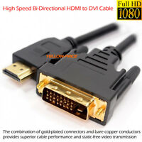 HDMI to DVI-D 24+1 Dual Link Cable Male Gold HDTV PC 3D 1080P Display Adaptor US