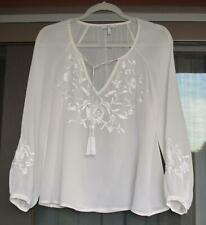 Joie Women's SZ XS Embroidered Peasant boho Blouse, ivory White sheer