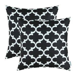 2Pcs Black Cushion Covers Pillow Shells Accent Geometric Home Sofa Decor 50x50cm