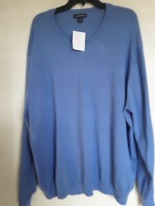 LANDS END  Fine Knit Blue V-Neck Sweater Sz 3X 3XL NEW