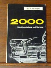 Alfa Romeo 2000 Betriebsanteilung und Wartung-Vintage Manual-Spider and Berlina