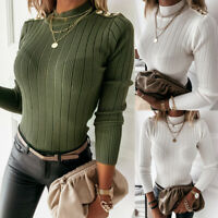 UK Womens Plain Knitted Long Sleeve Jumper Sweater Ladies Pullover Blouse Tops
