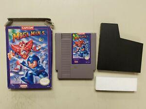 NES Mega Man 5 Capcom game and box NO MANUAL Works Nintendo Entertainment System