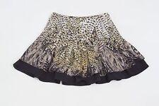 BEBE Women's Brown Feather Print Layered Flounce Mini Skirt Sz XXS $79 NEW