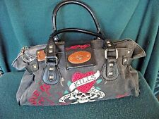 Ed Hardy tote bag large canvas and leather