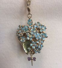Kirks Folly Forget Me Knot Heart Locket Necklace Enamel Flowers Dragonfly