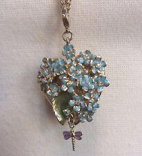 Kirks Folly Forget Me Knot Heart Locket Necklace Enamel Flowers Dragonfly