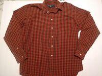 Mens Size Medium Ralph Lauren Blake Fit Plaid Thin Button Up Shirt Long Sleeve