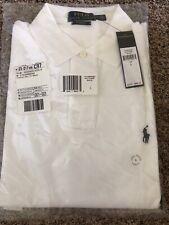 NWT Polo Ralph Lauren Men's Custom Fit Polo Shirt, Short Sleeve, White, Sz L