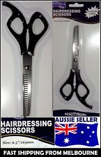 New Silver Tone and Black Stainless Steel Blade Thinning Shear Scissors AUSSIE