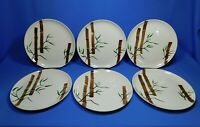 """6 Mid Century Modern American Heritage 9.5"""" Dinner Plate Bamboo Hand Painted Set"""