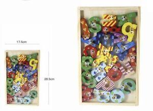 Gioco Bambini Lettere Alfabeto 26 Pezzi Legno Colorato Con Animali Didattico dfh