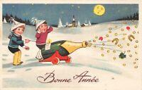 carte fantaisie - Humoristique - Bonne Année - Enfants et un canon de champagne