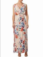 Lana marie By Ariella London V Side Wrap Shift Maxi Dress Coral Size 16 RRP £160