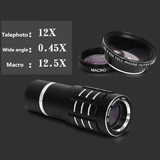 Universal 3in1 Wide Angle+12X Telescope+Macro Smart Phone Lens Kit For iPhone 6s