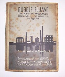 Watchmaker Catalog Rudolf Flume Berlin Tool & Workshop Supplies 1937 Rare