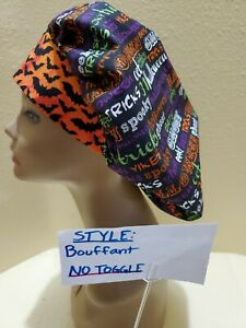 Halloween ( words) Women's Bouffant Surgical Scrub Hat/Cap Handmade