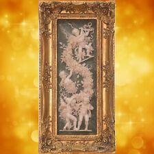 Amoretten Paar Relieff Bild Vintage goldfarben Barockrahmen Geschenk 28,2x55,9cm