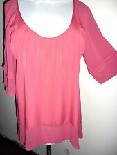 KATIES tunic TOP size 14 NEW&tags $59.95 cranberry cape sleeve work summer dress
