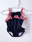 GYMBOREE Infant Swimsuit Bathing Suit Patriotic 4th Red White Blue 0-3mo NWT